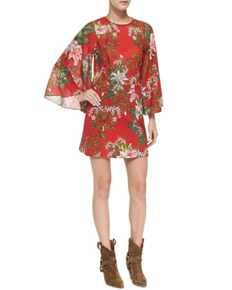 Weston Floral-Print Mini Dress, Red