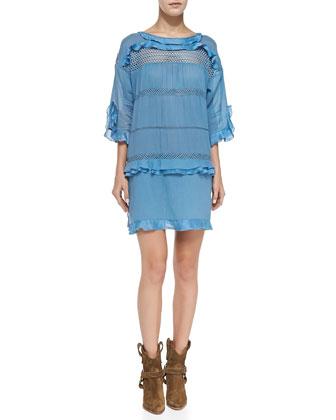 Cassy Mesh-Inset Ruffle Dress, Slate