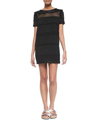 Caleen Mesh-Inset Ruffle Dress, Black