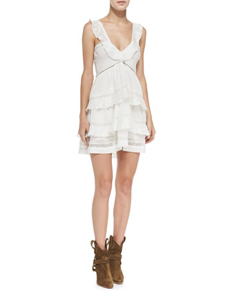 Casey V-Neck Mesh-Inset Ruffled Dress, White