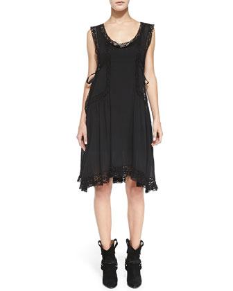 Dixie Floral-Lace-Inset Shift Dress, Black