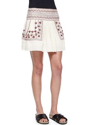 Vera Floral-Embroidered Mini Skirt, Beige