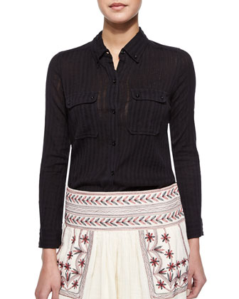 Tonya Tonal-Striped Button Blouse, Black