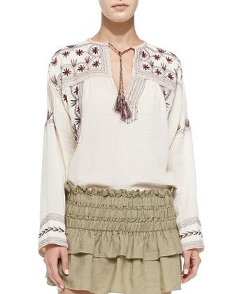 Vicky Floral-Embroidered Tassel Blouse, Beige