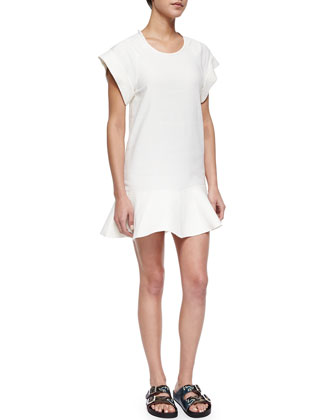 Gemma Linen-Blend Flounce Dress, White