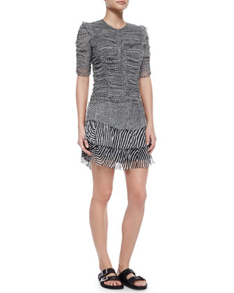 Damia Ripple-Print Ruched Tiered Mini Dress