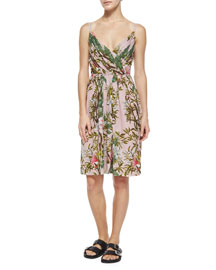 Welby Floral-Print Pleated Dress, Pink