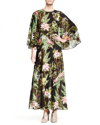 Wanda Floral-Print Long Dress, Black
