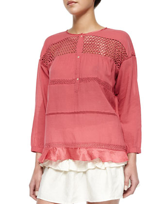 Chay Striped Lattice-Inset Blouse, Cranberry