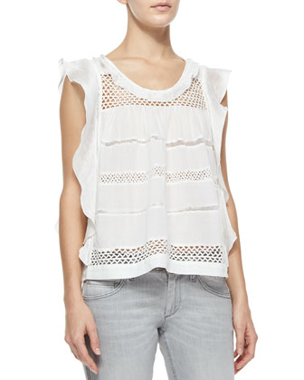 Clara Paneled Flutter Top, White