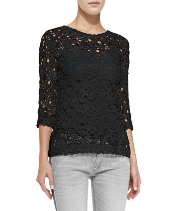 Deb Floral-Lace Top, Black