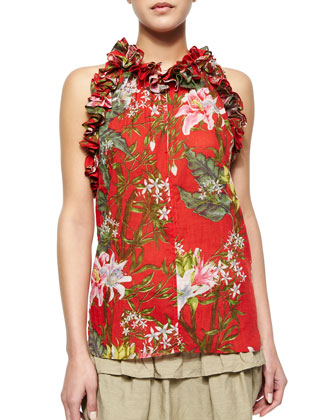 Wilton Floral-Print Ruffle-Trimmed Top
