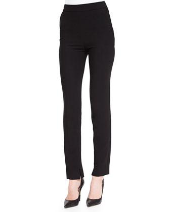 Slim-Fit Straight-Leg Pants, Black