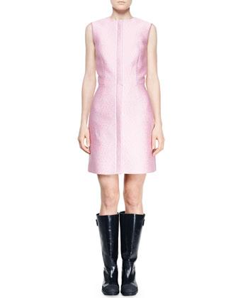 Zip-Front Jacquard City Dress