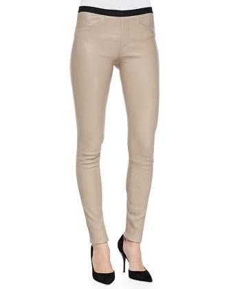Plonge Skinny-Fit Leather Pants, Camel