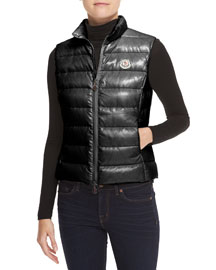 Fitted Zip Puffer Vest, Black