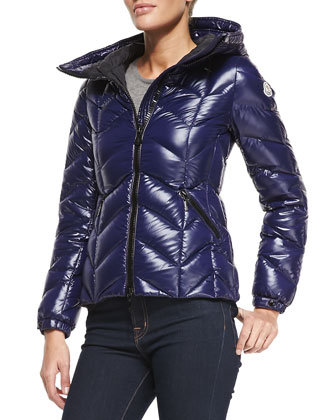 Oversize-Collar Hooded Puffer Coat, Royal