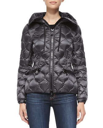 Onion-Quilted Scuba-Zip Puffer Jacket, Charcoal