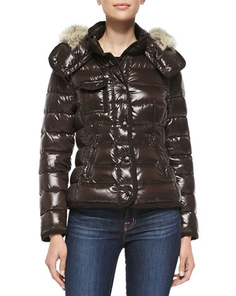 Puffer Jacket with Fur-Trim Hood, Chocolate