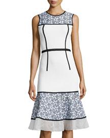 Sleeveless Floral-Panel Knit Dress
