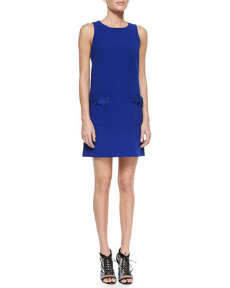 Sleeveless Rosette-Detailed Shift Dress, Royal