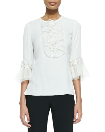 Rosette Ruffle Detailed Silk Blouse, White