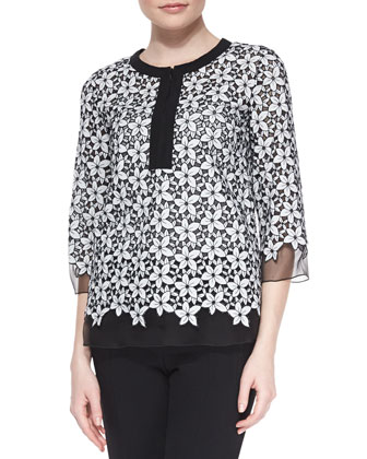 Floral-Embroidered Voile Top, White/Black