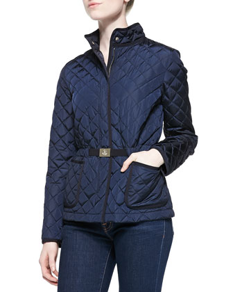 Bonneau Diamond-Quilted Zip Jacket, Navy