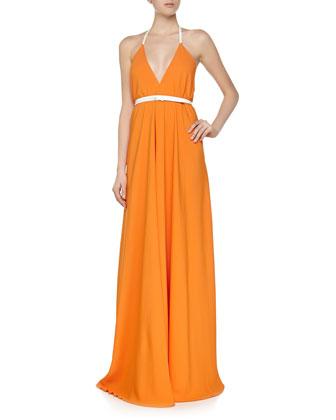 Open-Back Halter Swing Gown, Orange/White