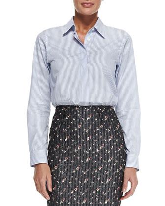 Menswear Striped Button-Back Shirt