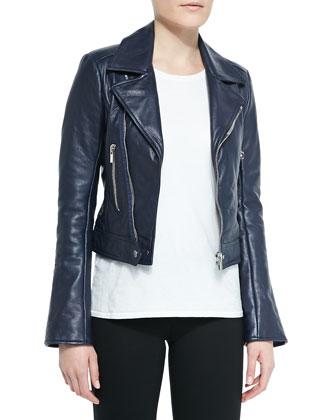 Notched-Collar Biker Jacket, Navy