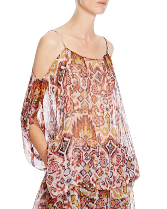 Shimmer Ikat-Print Off-The-Shoulder Top, White/Orange/Yellow
