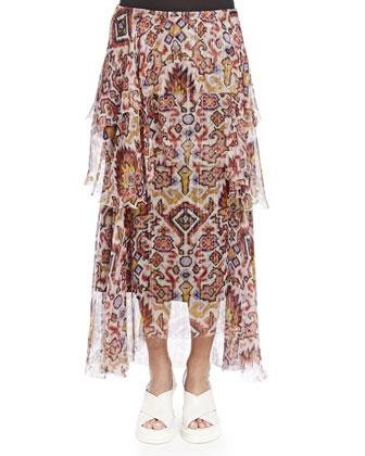 Tiered Shimmer Ikat-Print Skirt, White/Orange/Yellow