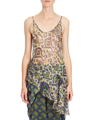 Shimmer Ikat-Print Asymmetric Camisole, White/Blue/Yellow