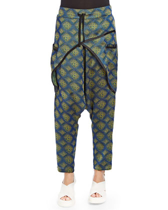 Jacquard Crossover Harem Pants, Blue/Yellow
