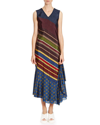 Striped & Floral-Print Sleeveless Maxi Dress, Navy/Burgundy/Gold