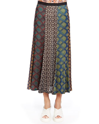 Multi-Paneled Crepe Long Skirt