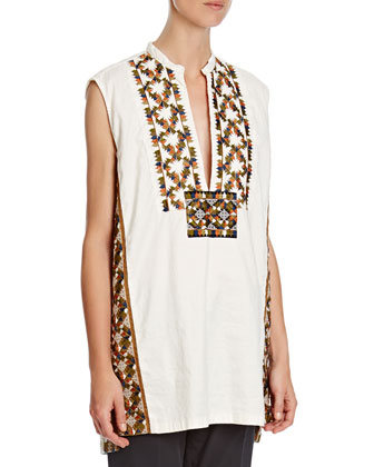 Diamond-Embroidered Split-Neck Tunic, White