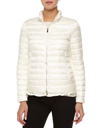 Flutter-Hem Puffer Jacket, White