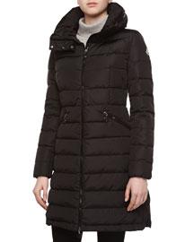 Peplum-Back Puffer Jacket, Black