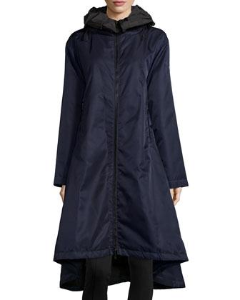 Iridescent Tech Fabric Drama Coat, Navy