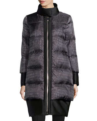 Satin-Trimmed Croc-Print Puffer Coat, Charcoal