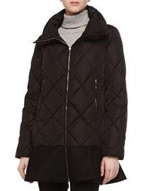 Diamond-Quilted Peplum Puffer Jacket, Black