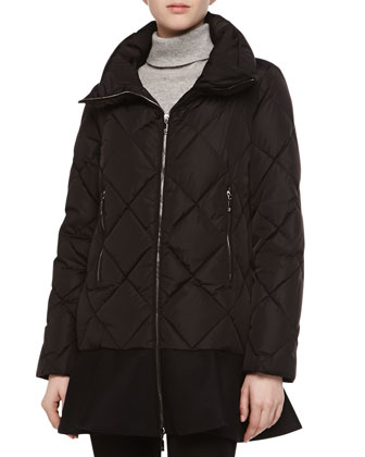 Diamond-Quilted Peplum Puffer Jacket, Black
