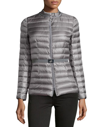 Damas Stripe-Quilted Belted Puffer Coat, Charcoal