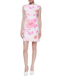 Flower-Print Mini Shift Dress