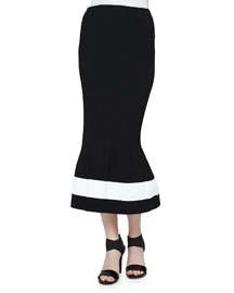Micro-Plisse Flared Skirt, Black/White