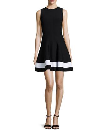 Contrast-Striped Flared Mini Dress, Black