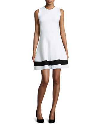 Contrast-Striped Flared Mini Dress, White