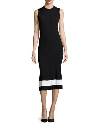 Ribbed-Knit Striped-Hem Midi Dress